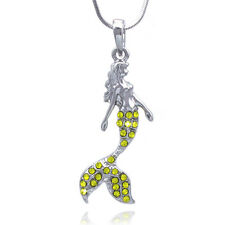 Fairytale Yellow Crystal Pave Mermaid Pendant Necklace Girl Jewelry GIFT BOX