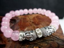 8mm Natural Rose Quartz Bead Protection Rose Lucky Silver Buddha Charm Bracelet