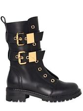 EUC!~~ GIUSEPPE ZANOTTI Black Leather & Gold Buckle Combat Moto Boots sz 38