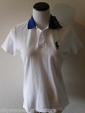 NWT Ralph Lauren Golf Womens Tailored Golf Fit Polo Shirt M White/Royal MSRP$89