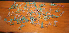 """VTG Lot of 50 Plastic 1960s Army Toy Soldiers 2"""" Marx? Greenbriar Green"""