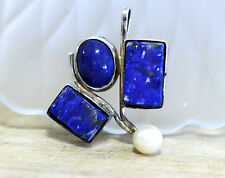 Large Natural Blue Lapis Lazuli and Japanese Pearl Pendant in Sterling Silver