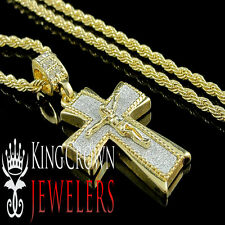YELLOW GOLD FINISH MINI JESUS CRUCIFIX CROSS PENDANT CHARM CHAIN NECKLACE SET
