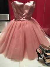 Womens Sz 0 Betsey Johnson Tutu Prom Party Dress Pink Tulle /Sequins