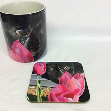 Pug with Pink Flower Mug and Coaster Set