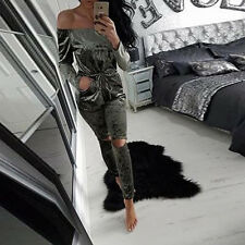 Womens Crushed Velvet Playsuit Jumpsuit Evening Party Cocktail Short Mini Dress