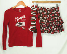 Gymboree Sweet Treats Size 12 Girls Top Skort Socks Outfit 3 Pc Set Roses Candy