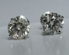 16.6 ctw AGS J SI2/I1 natural round diamond stud earrings 18k white gold 12.96mm