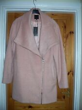 Gorgeous pink wool mix zip feature lined coat, size 16.NWT