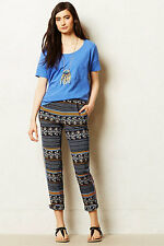 NIP Anthropologie Aralia Pants by Elevenses, blue motif, 6 $118, 5-star review