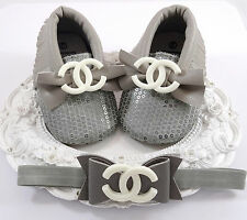 Baby Girl Shoes,  Crib Shoes, Headband Set, Baby Accessories, Fancy Baby Shoes
