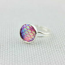 8 Color Rainbow Mermaid Scale Ring Silver Tone Mermaid Cocktail Ring Adjustable