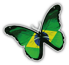 Brazil Flag Butterfly Car Bumper Sticker Decal 5'' x 5''