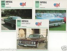 3 FICHES AUTOMOBILE USA CAR IMPERIAL CROWN MY-1 CROWN CABRIOLET 1957-1963