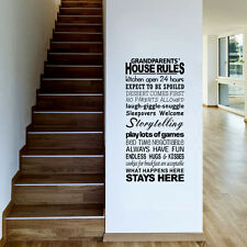 Removable Grandparents House Rules wall stickers Decal Art Vinyl Decor Home