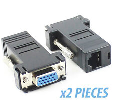 2pcs PC TO TV ADAPTOR ADAPTER VGA FEMALE OVER VIDEO ETHERNET CABLE RJ45 Extender