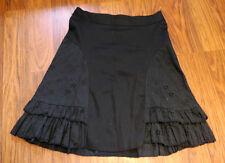 GIULI ITALIA black tulip knee skirt w/ eyelet lace flares tiered ruffles XS/S