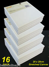 16 Pack - 20 x 20cm Blank Artist Stretch Canvas - Cotton