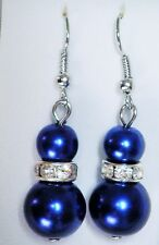 Dark Blue Double Faux Pearl (6mm &12mm) & Crystal Silver Tone Drop Earrings