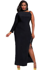 Ladies Women Evening One Sleeve High Slit Maxi Red Black Dress Plus Size 16 18