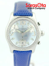 Corum Bubble 196.150.20 Blue MOP Dial Chronograph Diamond Bezel Women's Watch