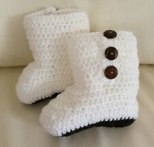 Baby Boy Christening Handmade Crochet Knit White Newborn Boots Shoes 0-3 months