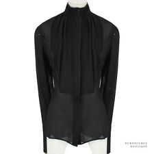 Stella McCartney noir soie crêpe plissé bib front shirt chemisier top IT42 UK10