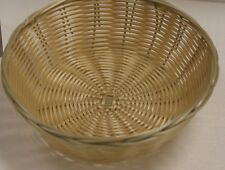 4 EACH Plastic ROUND FOOD BASKET CHIPS BREAD SANDWICH FRENCH FRY - NATURAL WEAVE