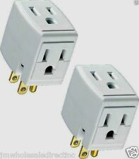 New 5PK TRIPLE OUTLET GROUNDED ELECTRIC Convert 1 to 3 WALL TAP POWER ADAPTER UL
