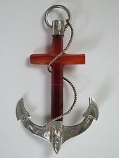 19th century Scottish agate cross and silver anchor brooch. Christian jewellery