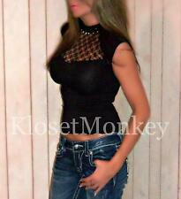 SEXY BLACK CAGE MESH MOCK HIGH NECK PEARL SEAMLESS STRETCH TIGHT GOTH TOP ONE SZ