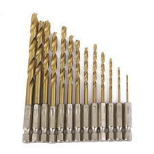 "13PCs HSS DRILL BIT SET 1.5mm-6.5mm BITS TITANIUM COATED WITH 1/4"" HEX SHANK"