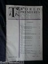 INTERNATIONAL THEATRE INSTITUTE WORLD PREMIER - FEB 1954 VOL 5 #5