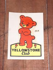 Vintage LINDGREN BROTHERS YELLOWSTONE CUB WYOMING State Travel Souvenir Decal