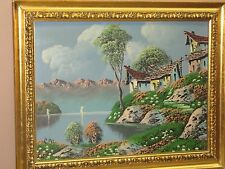 """Vintage Oil on Board Painting 11"""" x 15"""" Framed 14"""" x 18"""" Signed"""