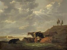 AELBERT CUYP DUTCH RIVER LANDSCAPE COWS OLD ART PAINTING POSTER BB4756A