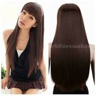 Fashion Stylish Brown Women Hair Long Straight Bangs Party Fancy Dress Wigs New