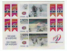 1909 2009 Canada Hockey Montreal 100 years of story $3 stamps MINT