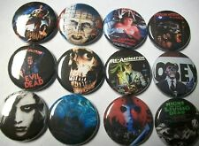 Horror Pinback Buttons Set. Evil Dead They Live Re-Animator Fright Night
