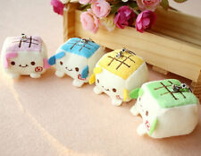 New 4 Pcs cute Cartoon tofu plush figures mobile phone strap Charms 5cm