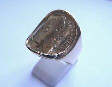 Chevalière cintrée or pièce de 20 Francs Napoléon lauré douille intérieure