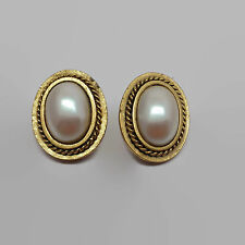Yves Saint Laurent YSL Faux Pearl Clip Gold Tone Earrings