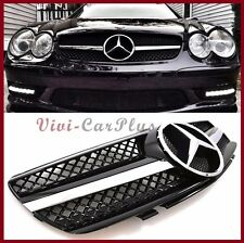For 03-06 R230 M Benz SL500 SL600 SL55 SL65 AMG Look OE Black Front Grille Hood