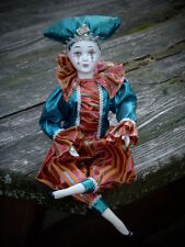 "harlequin clown jester heirloom porcelain doll figurine16"" home decor"