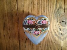 Limoges French Hand Painted and Signed Porcelain Heart Trinket Box