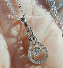 "Sterling Silver Round Diamond cut ""IN MOTION"" Pendant Chain Necklace Women's"
