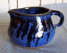 Vintage 1990s Hand Thrown Pottery Pitcher / Creamer-Blue Drip Glaze-Signed-NICE