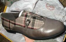 BELLA VITA $114 WOMEN GRAY LEATHER PLAID OXFORDS SHOES LOAFERS 6 WW NWT