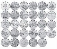 Selection of Collectable Fifty Pence Coins (50p) Olympic and Commemorative