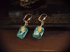 Vintage Aquamarine Rectangle Crystal Drop Hook Pierced Earrings
